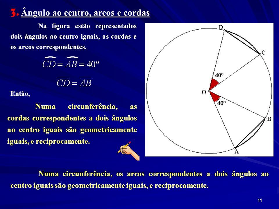 3. Ângulo ao centro, arcos e cordas