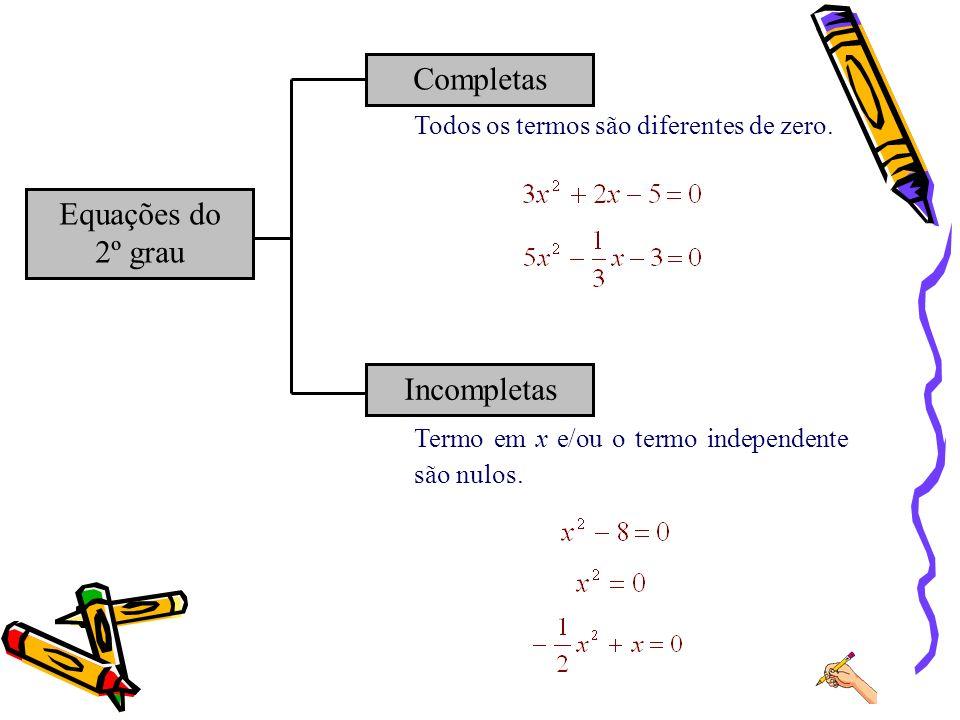 Completas Equações do 2º grau Incompletas