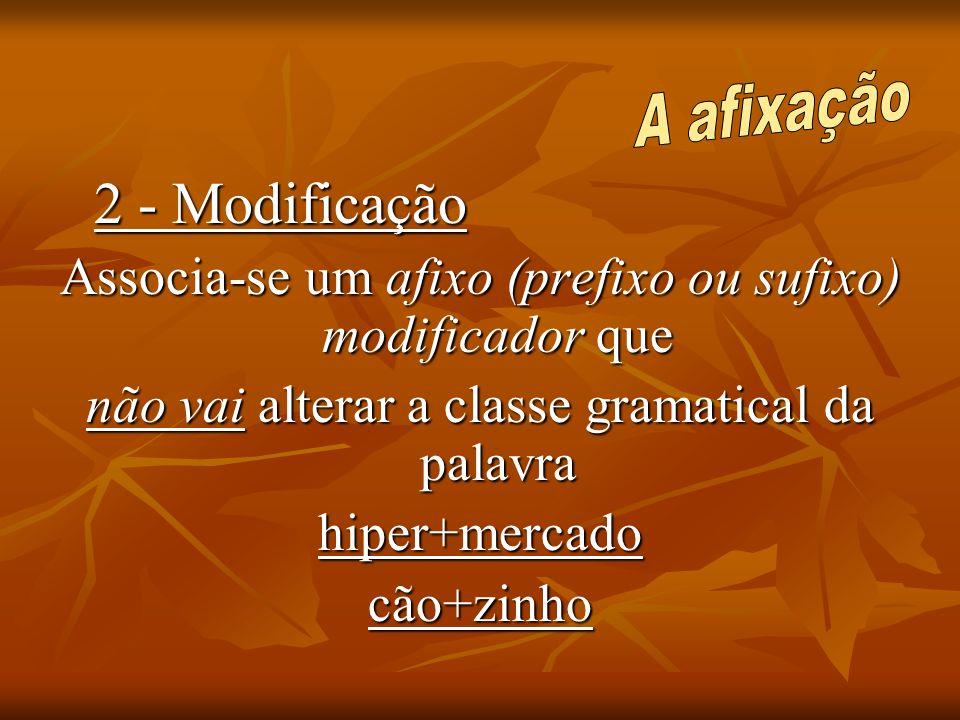 Associa-se um afixo (prefixo ou sufixo) modificador que