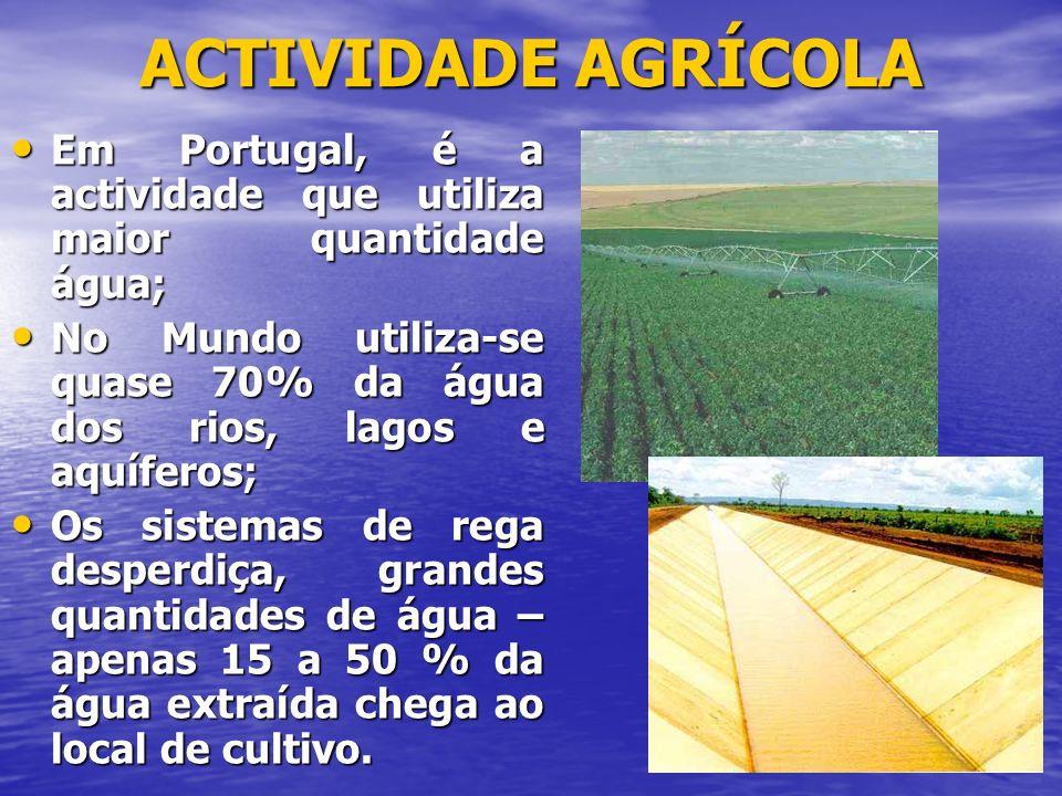 ACTIVIDADE AGRÍCOLA Em Portugal, é a actividade que utiliza maior quantidade água;