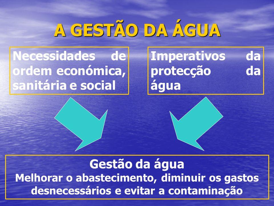 A GESTÃO DA ÁGUA Necessidades de ordem económica, sanitária e social