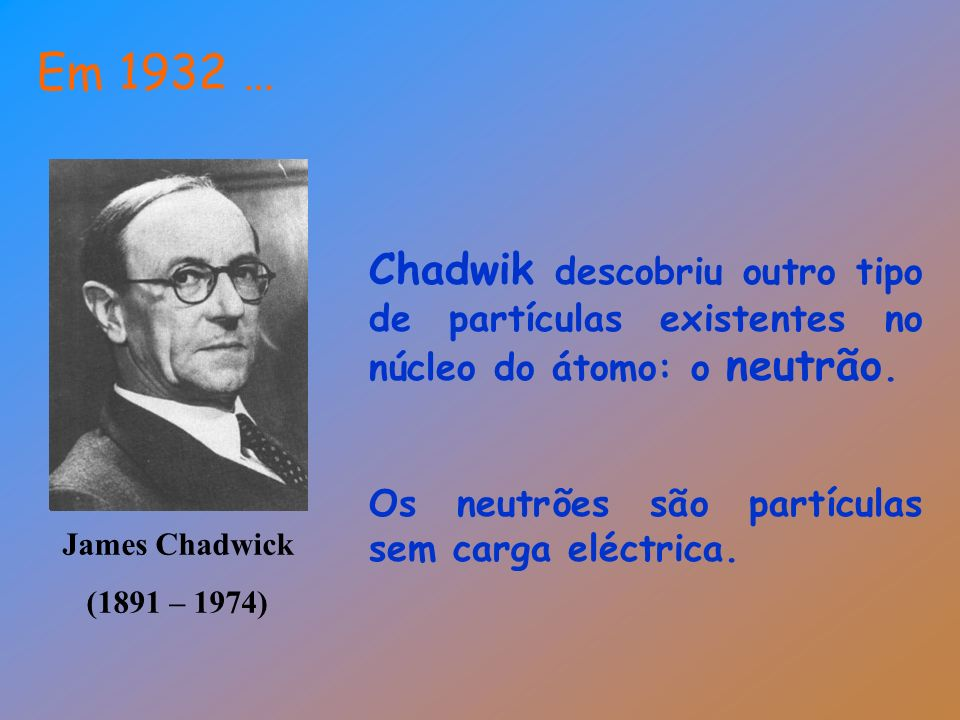Em 1932 … Chadwik descobriu outro tipo de partículas existentes no núcleo do átomo: o neutrão. Os neutrões são partículas sem carga eléctrica.