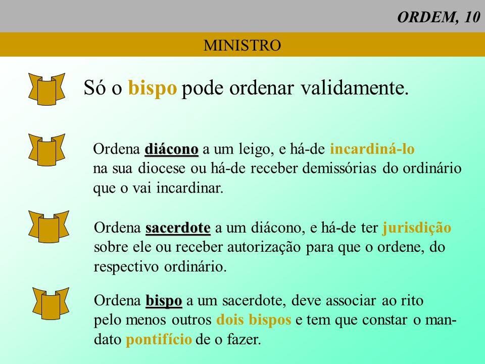 Só o bispo pode ordenar validamente.
