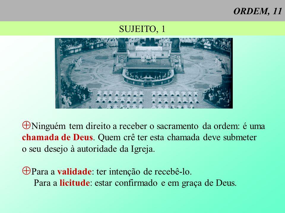 ORDEM, 11 SUJEITO, 1. Ninguém tem direito a receber o sacramento da ordem: é uma. chamada de Deus. Quem crê ter esta chamada deve submeter.