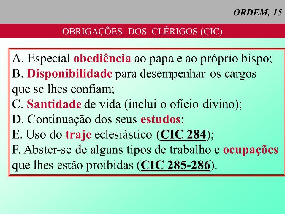 OBRIGAÇÕES DOS CLÉRIGOS (CIC)