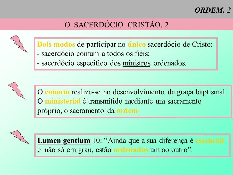 ORDEM, 2 O SACERDÓCIO CRISTÃO, 2. Dois modos de participar no único sacerdócio de Cristo: - sacerdócio comum a todos os fiéis;