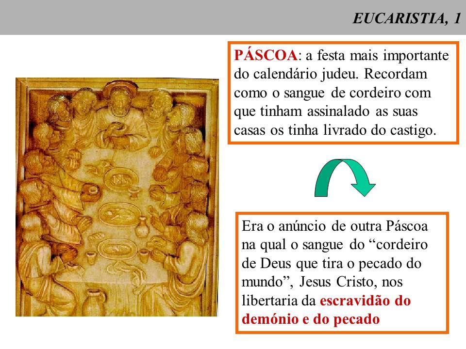 EUCARISTIA, 1 PÁSCOA: a festa mais importante. do calendário judeu. Recordam. como o sangue de cordeiro com.