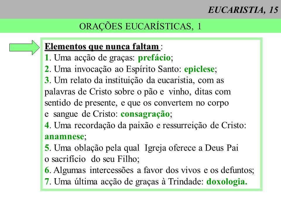 EUCARISTIA, 15 ORAÇÕES EUCARÍSTICAS, 1. Elementos que nunca faltam : 1. Uma acção de graças: prefácio;