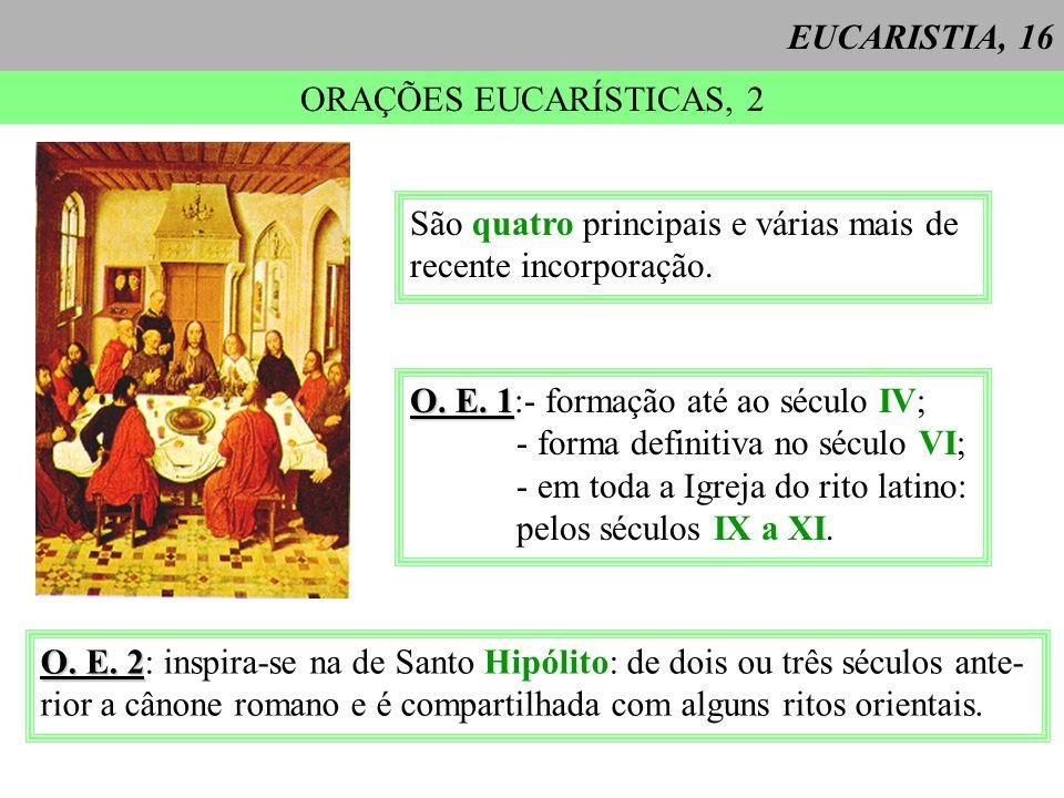 EUCARISTIA, 16 ORAÇÕES EUCARÍSTICAS, 2. São quatro principais e várias mais de. recente incorporação.
