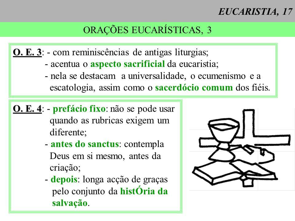 EUCARISTIA, 17 ORAÇÕES EUCARÍSTICAS, 3. O. E. 3: - com reminiscências de antigas liturgias; - acentua o aspecto sacrificial da eucaristia;