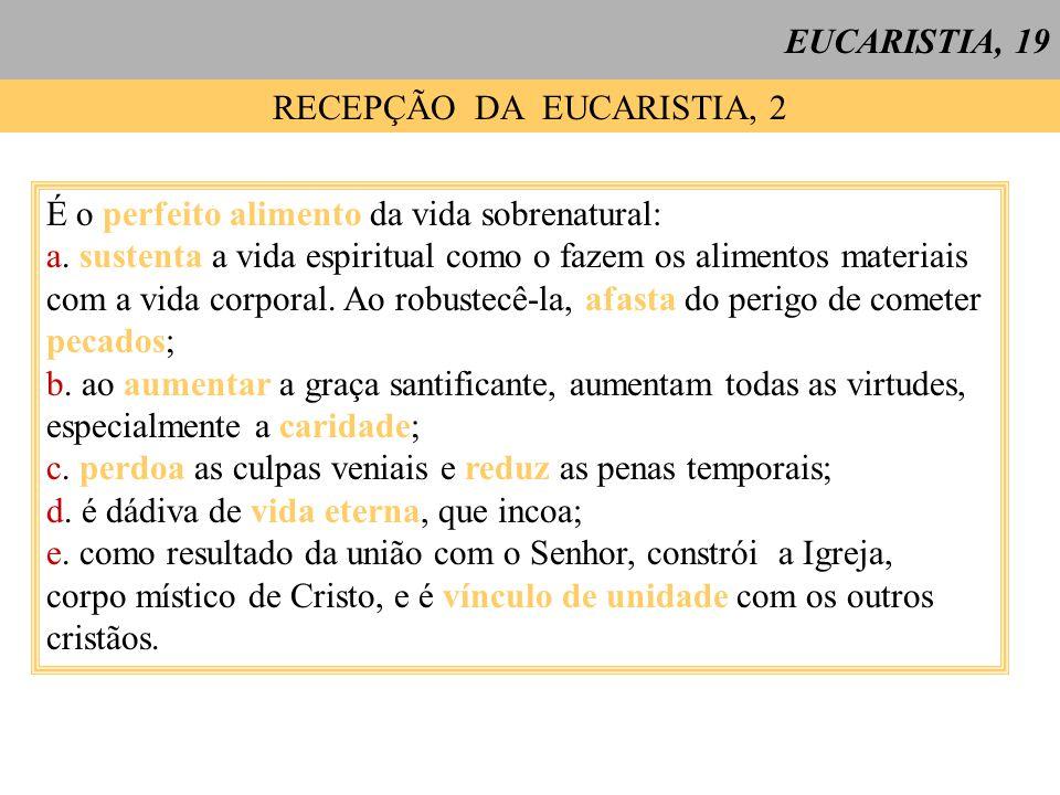 RECEPÇÃO DA EUCARISTIA, 2