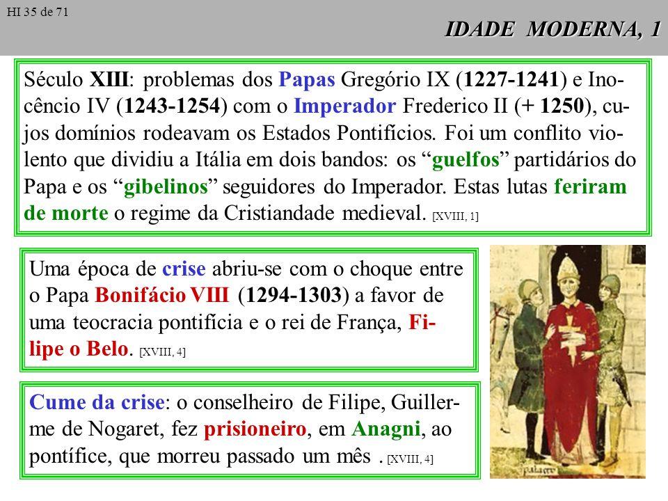 Século XIII: problemas dos Papas Gregório IX (1227-1241) e Ino-