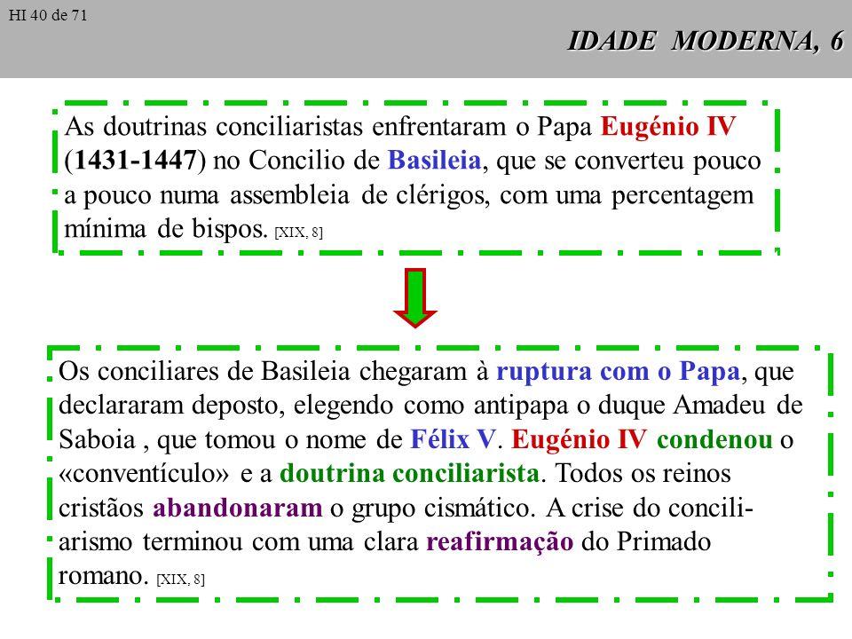 As doutrinas conciliaristas enfrentaram o Papa Eugénio IV
