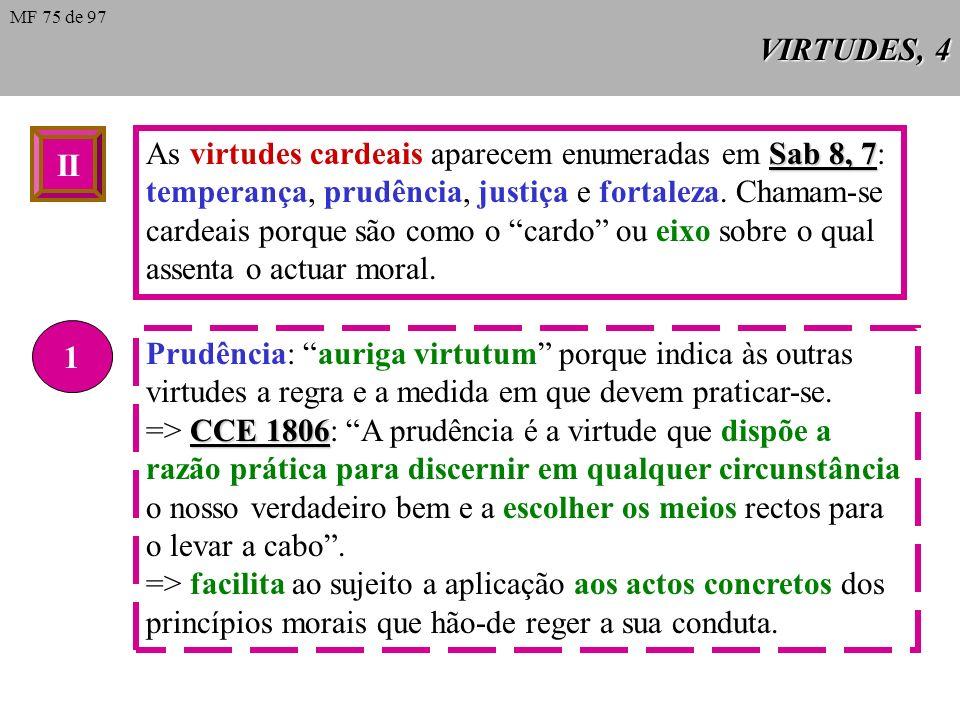 As virtudes cardeais aparecem enumeradas em Sab 8, 7: