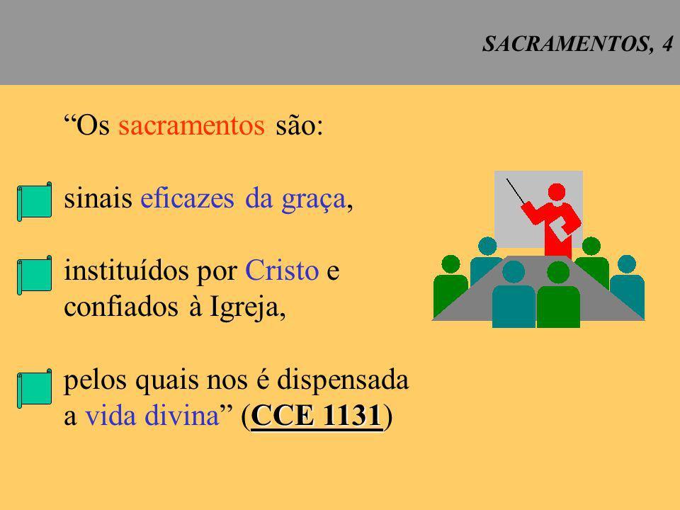 sinais eficazes da graça, instituídos por Cristo e confiados à Igreja,