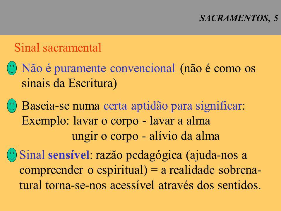 Não é puramente convencional (não é como os sinais da Escritura)