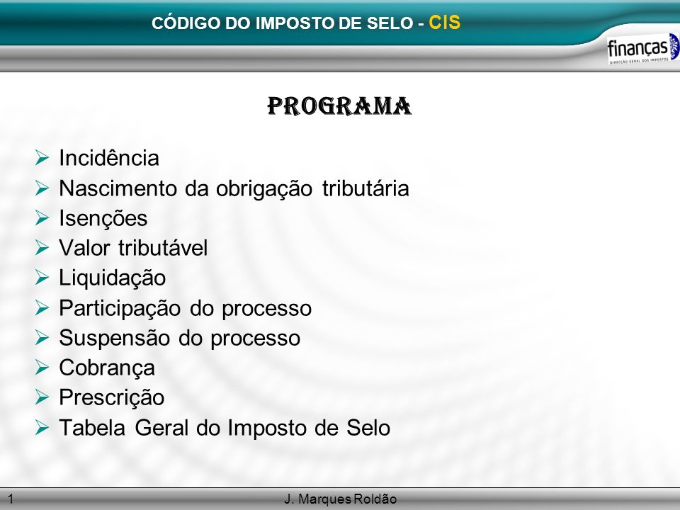 CÓDIGO DO IMPOSTO DE SELO - CIS