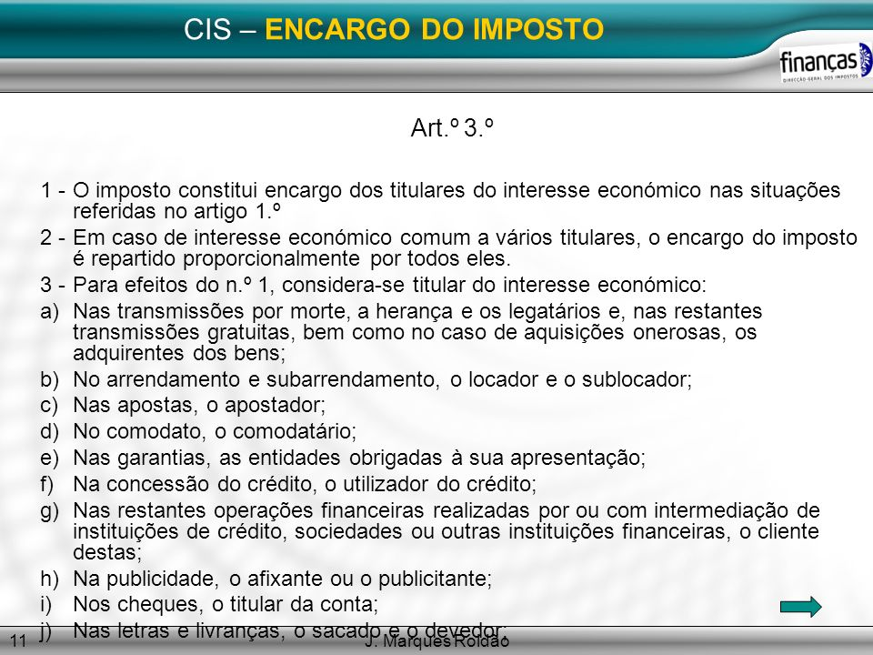 CIS – ENCARGO DO IMPOSTO