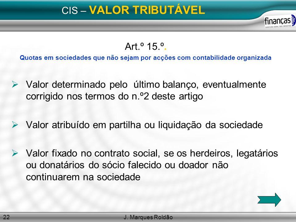 Valor atribuído em partilha ou liquidação da sociedade