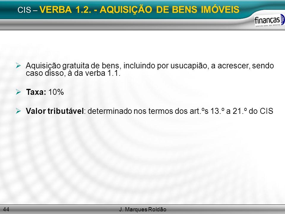 CIS – VERBA 1.2. - AQUISIÇÃO DE BENS IMÓVEIS