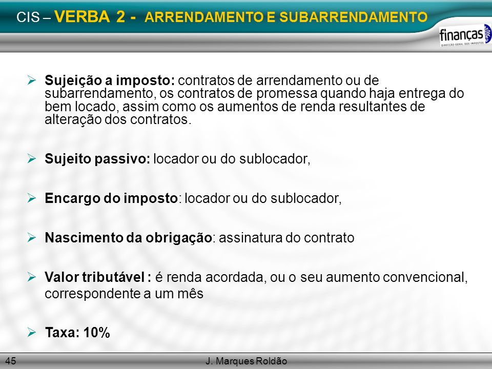 CIS – VERBA 2 - ARRENDAMENTO E SUBARRENDAMENTO