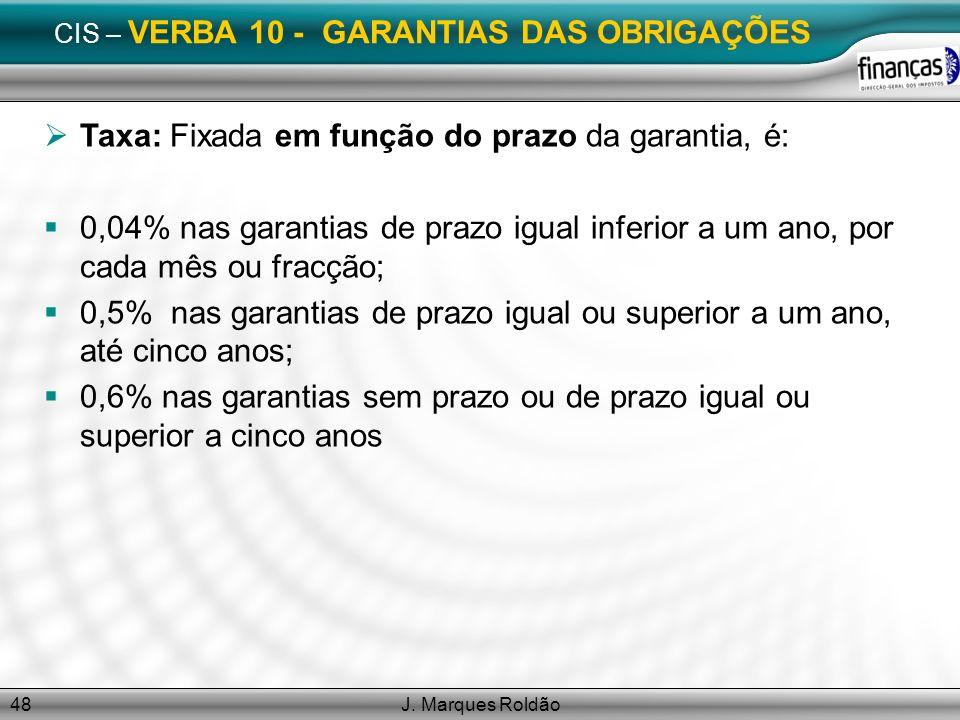 CIS – VERBA 10 - GARANTIAS DAS OBRIGAÇÕES