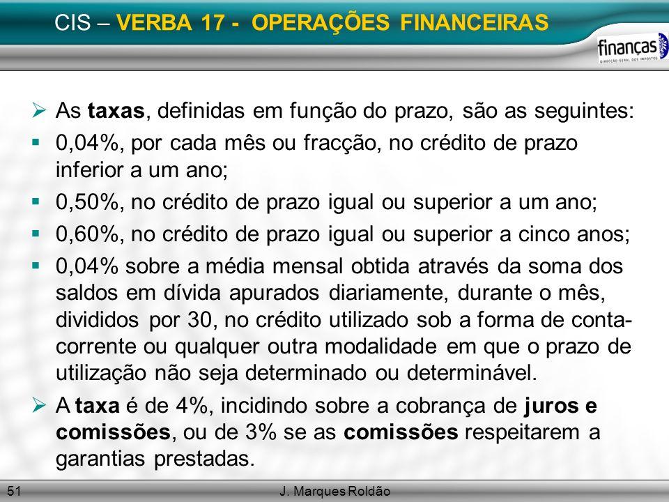 CIS – VERBA 17 - OPERAÇÕES FINANCEIRAS