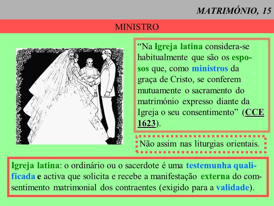 MATRIMÓNIO, 15 MINISTRO. Na Igreja latina considera-se. habitualmente que são os espo- sos que, como ministros da.