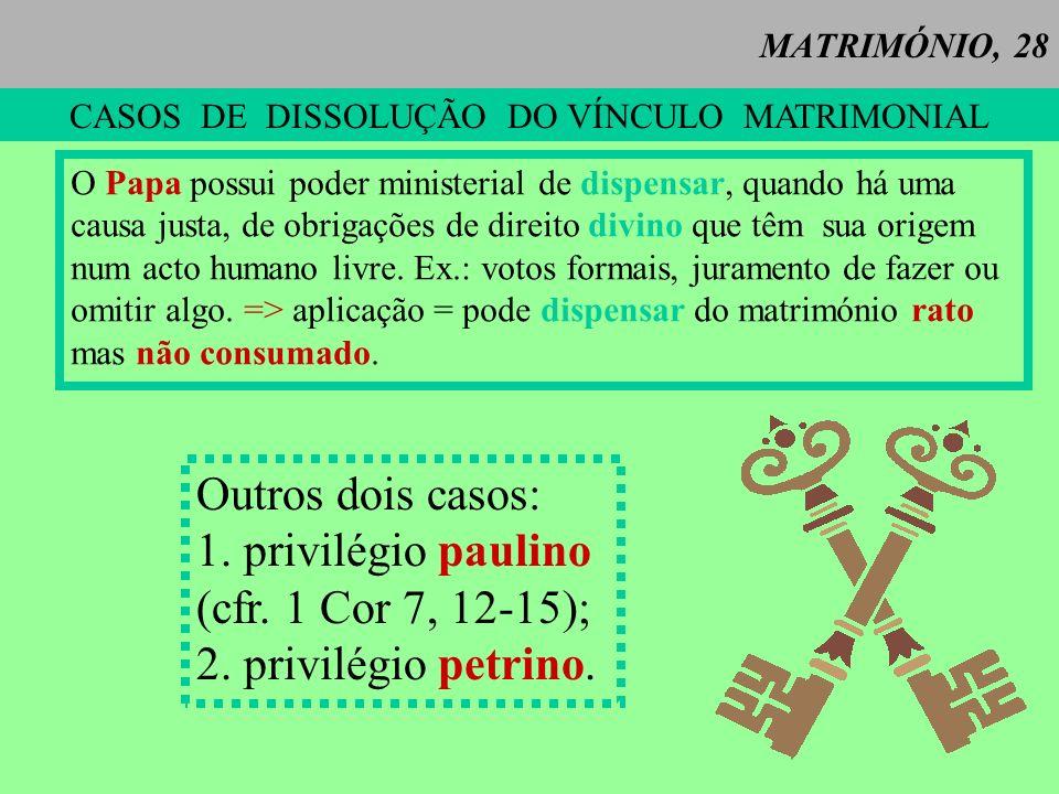 CASOS DE DISSOLUÇÃO DO VÍNCULO MATRIMONIAL