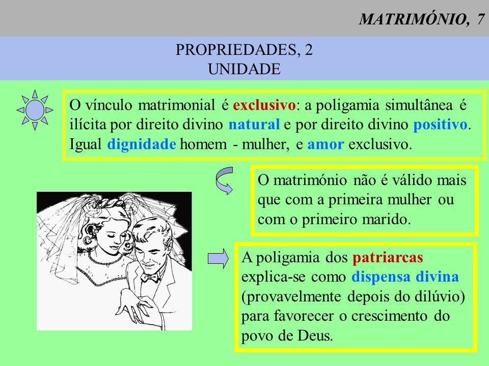 MATRIMÓNIO, 7PROPRIEDADES, 2. UNIDADE. O vínculo matrimonial é exclusivo: a poligamia simultânea é.