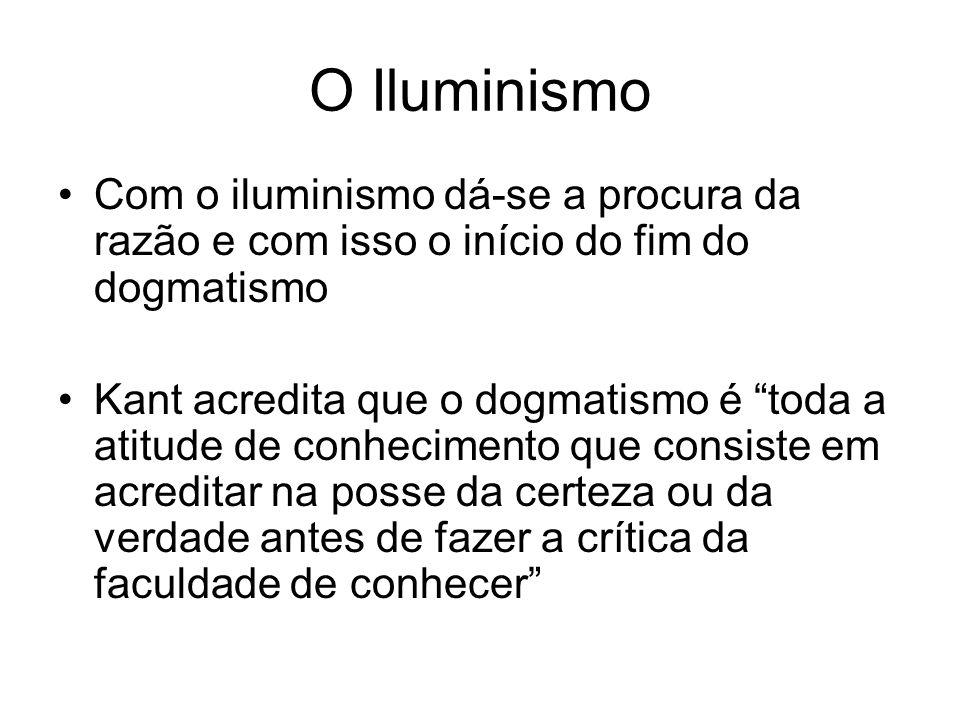 O Iluminismo Com o iluminismo dá-se a procura da razão e com isso o início do fim do dogmatismo.