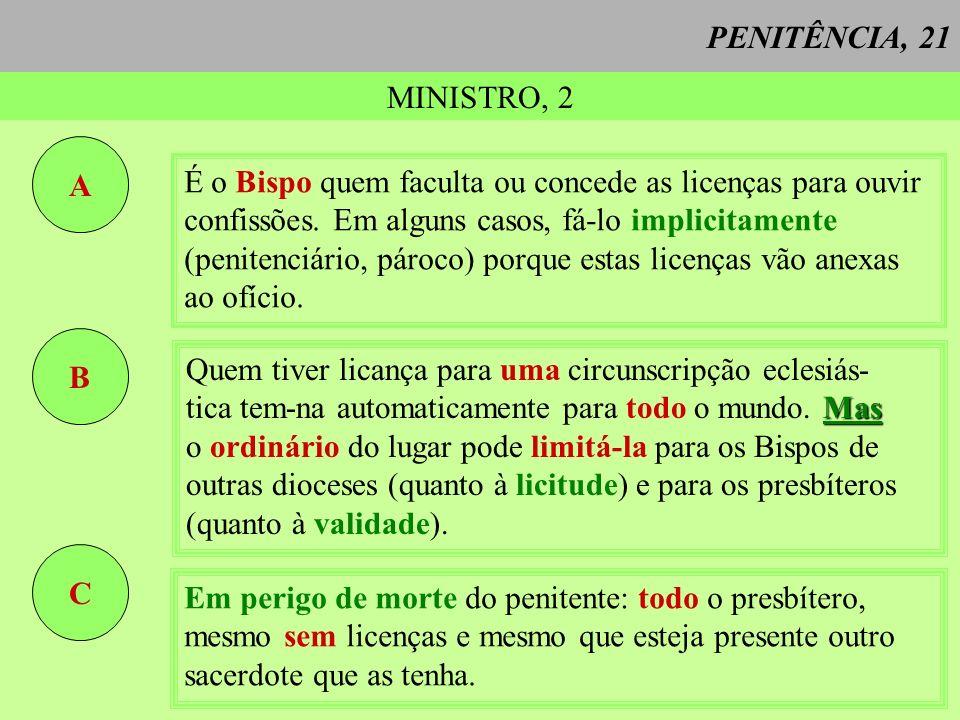 PENITÊNCIA, 21 MINISTRO, 2. A. É o Bispo quem faculta ou concede as licenças para ouvir. confissões. Em alguns casos, fá-lo implicitamente.