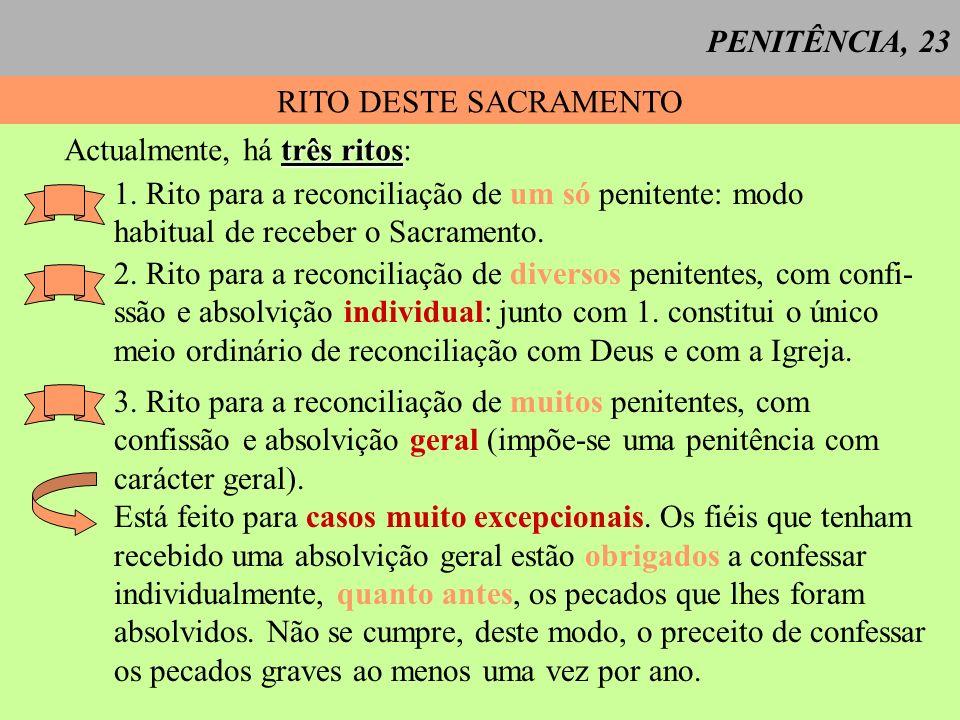 PENITÊNCIA, 23 RITO DESTE SACRAMENTO. Actualmente, há três ritos: 1. Rito para a reconciliação de um só penitente: modo.
