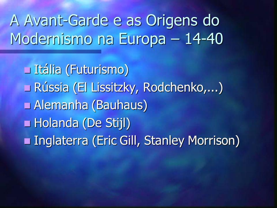 A Avant-Garde e as Origens do Modernismo na Europa – 14-40