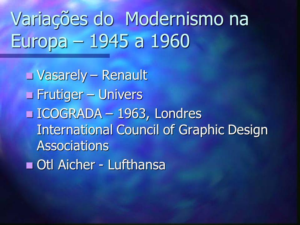 Variações do Modernismo na Europa – 1945 a 1960