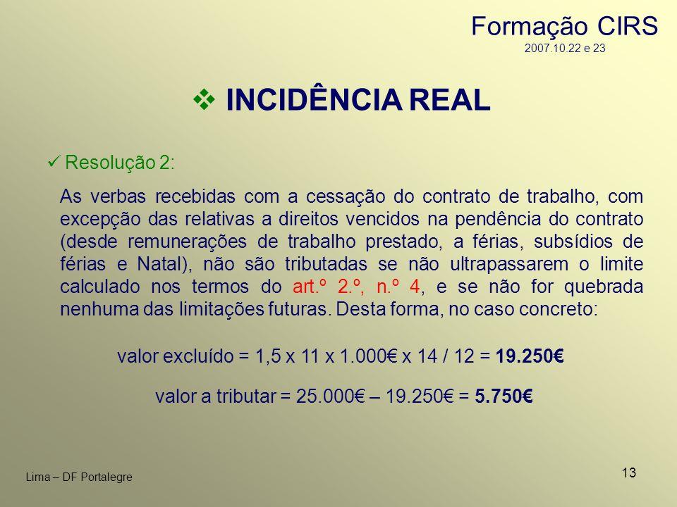 INCIDÊNCIA REAL Formação CIRS 2007.10.22 e 23 Resolução 2: