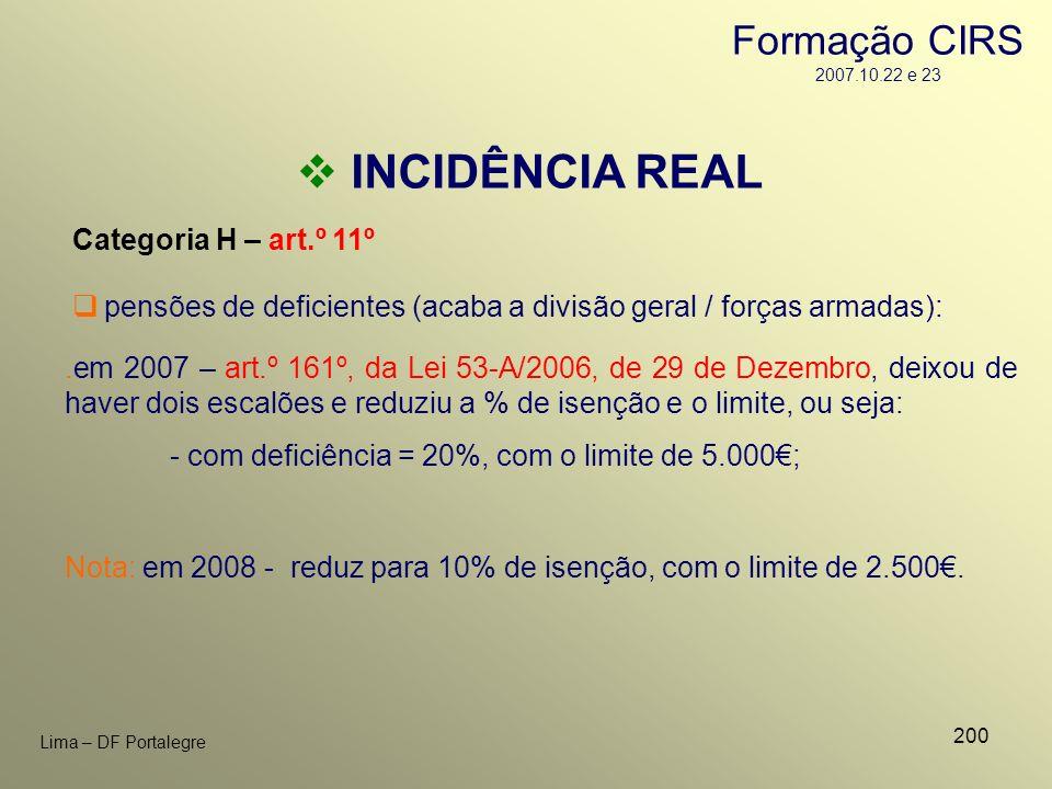 INCIDÊNCIA REAL Formação CIRS 2007.10.22 e 23 Categoria H – art.º 11º