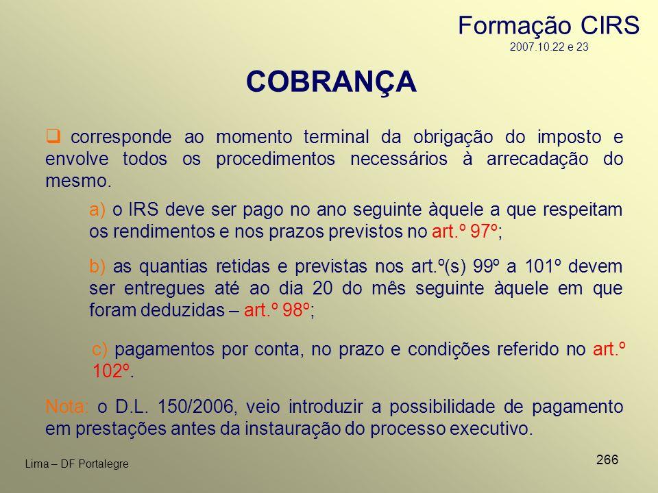 COBRANÇA Formação CIRS 2007.10.22 e 23