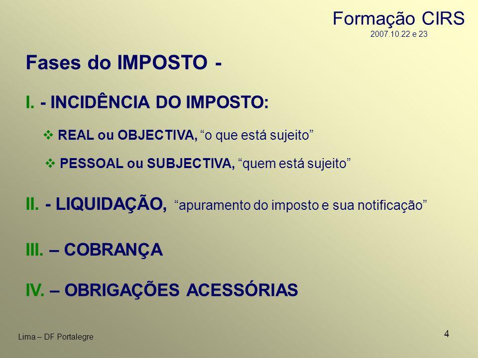 Fases do IMPOSTO - Formação CIRS 2007.10.22 e 23