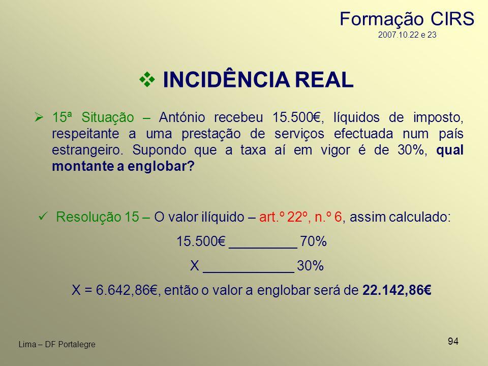 X = 6.642,86€, então o valor a englobar será de 22.142,86€