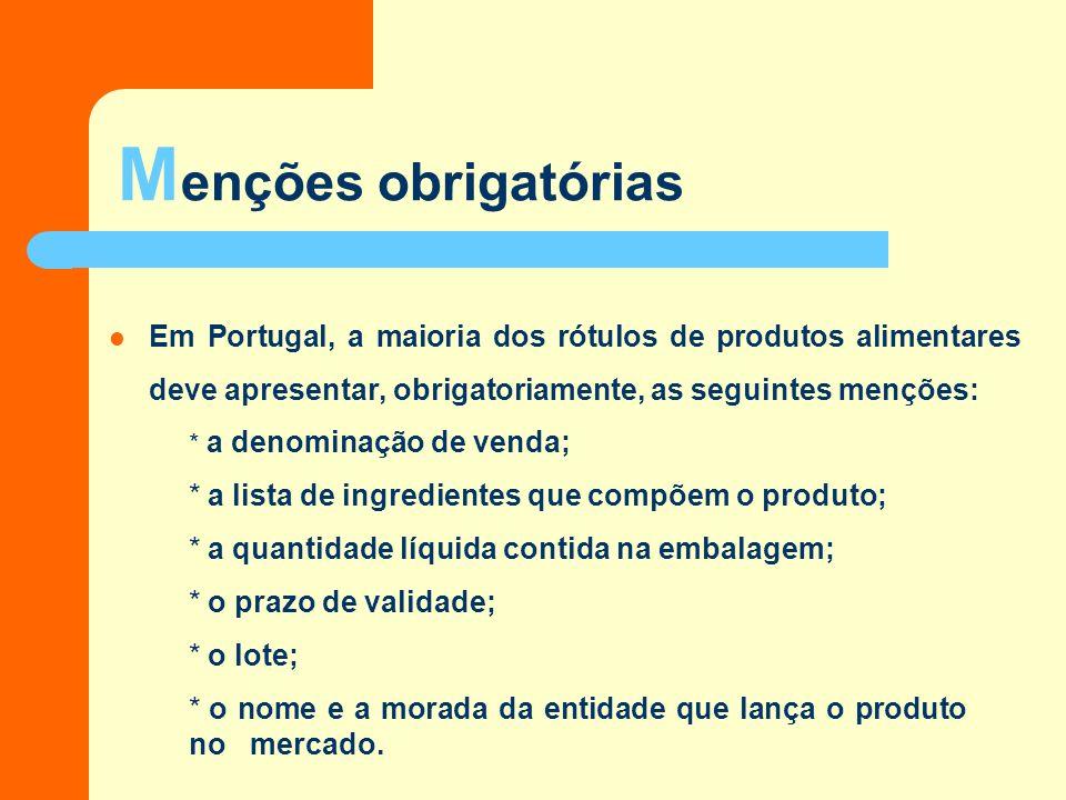 Menções obrigatórias Em Portugal, a maioria dos rótulos de produtos alimentares deve apresentar, obrigatoriamente, as seguintes menções: