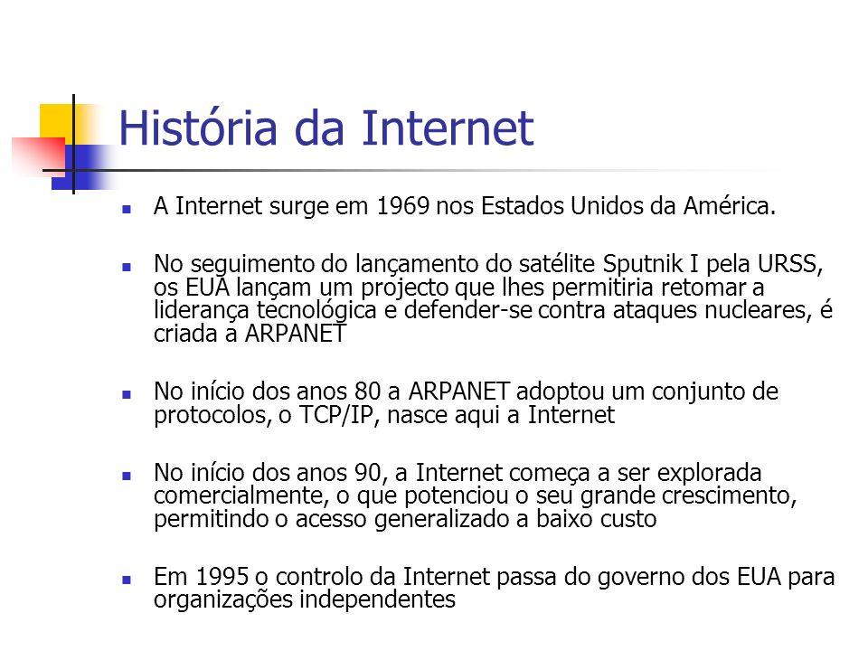 História da Internet A Internet surge em 1969 nos Estados Unidos da América.