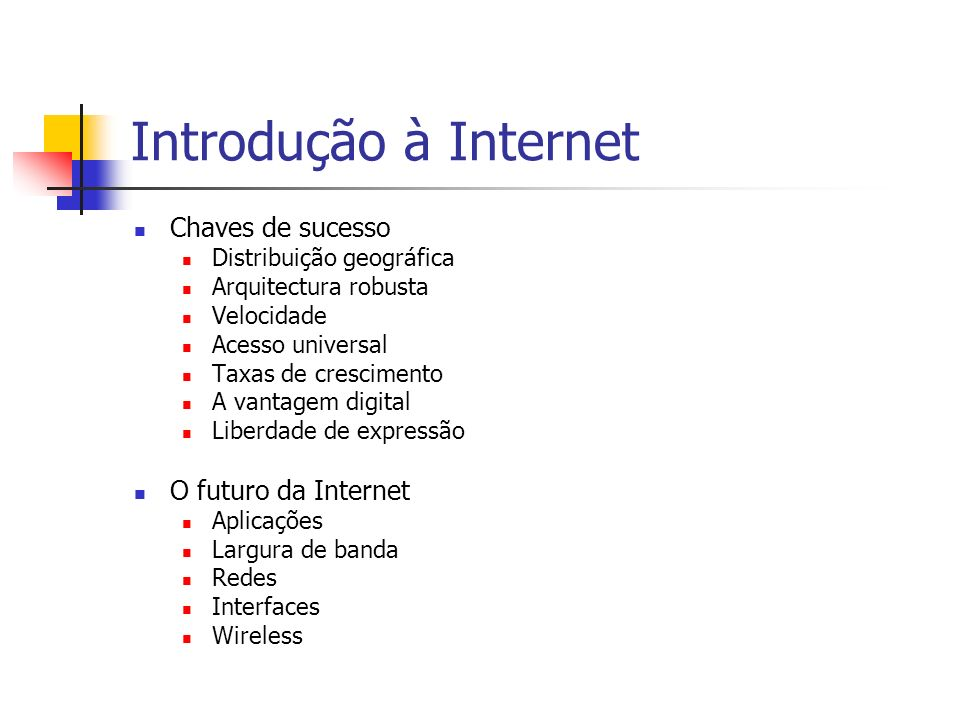 Introdução à Internet Chaves de sucesso O futuro da Internet