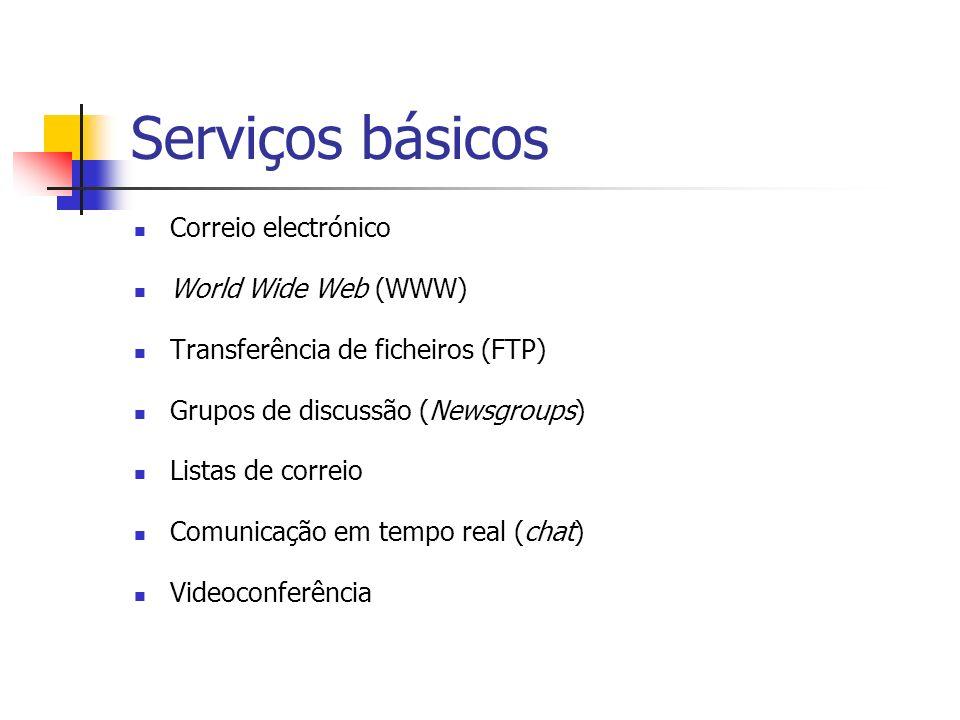 Serviços básicos Correio electrónico World Wide Web (WWW)