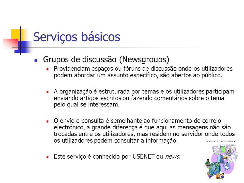Serviços básicos Grupos de discussão (Newsgroups)