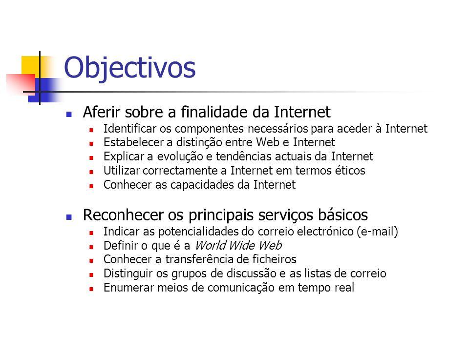 Objectivos Aferir sobre a finalidade da Internet