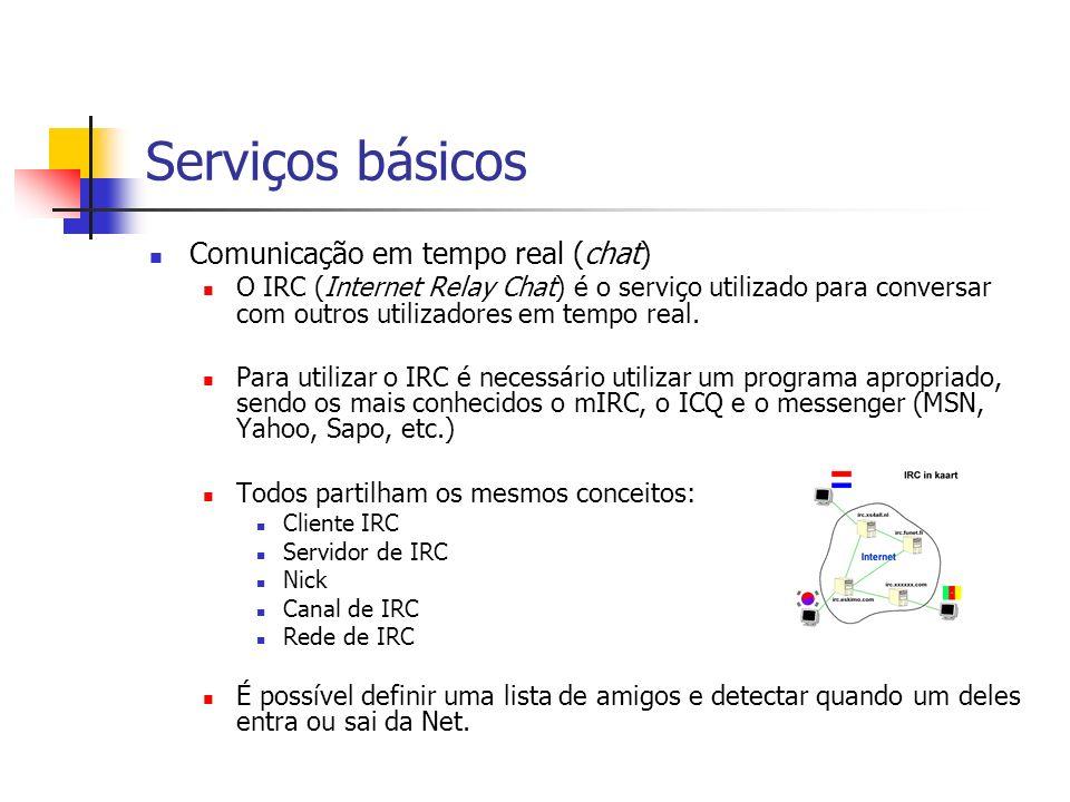 Serviços básicos Comunicação em tempo real (chat)