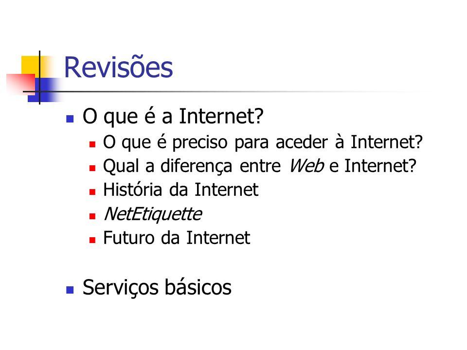 Revisões O que é a Internet Serviços básicos