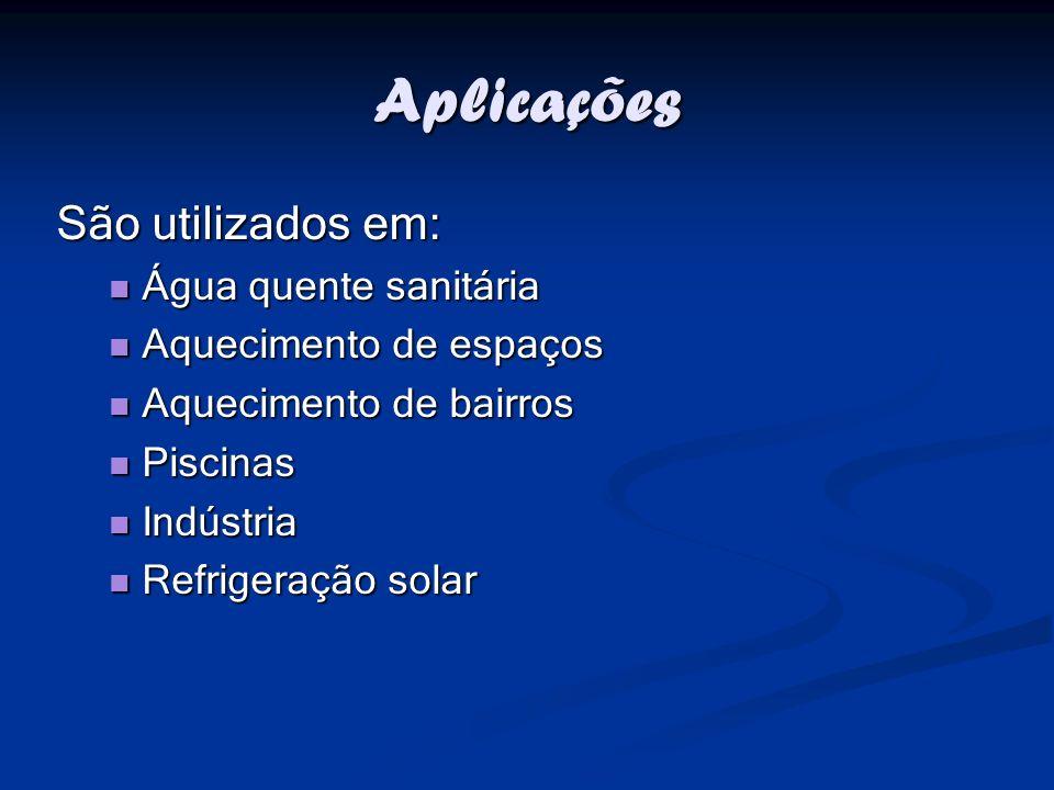 Aplicações São utilizados em: Água quente sanitária