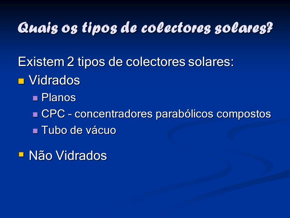 Quais os tipos de colectores solares
